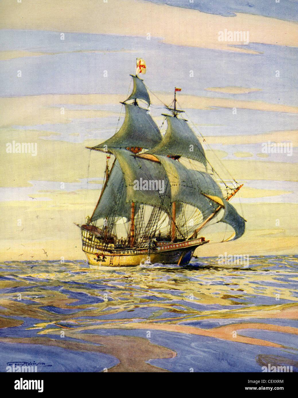 DIE GOLDEN HIND, captained durch Sir Francis Drake auf seiner Weltumrundung. Gemalt von Marine-Historiker Gregory Stockbild