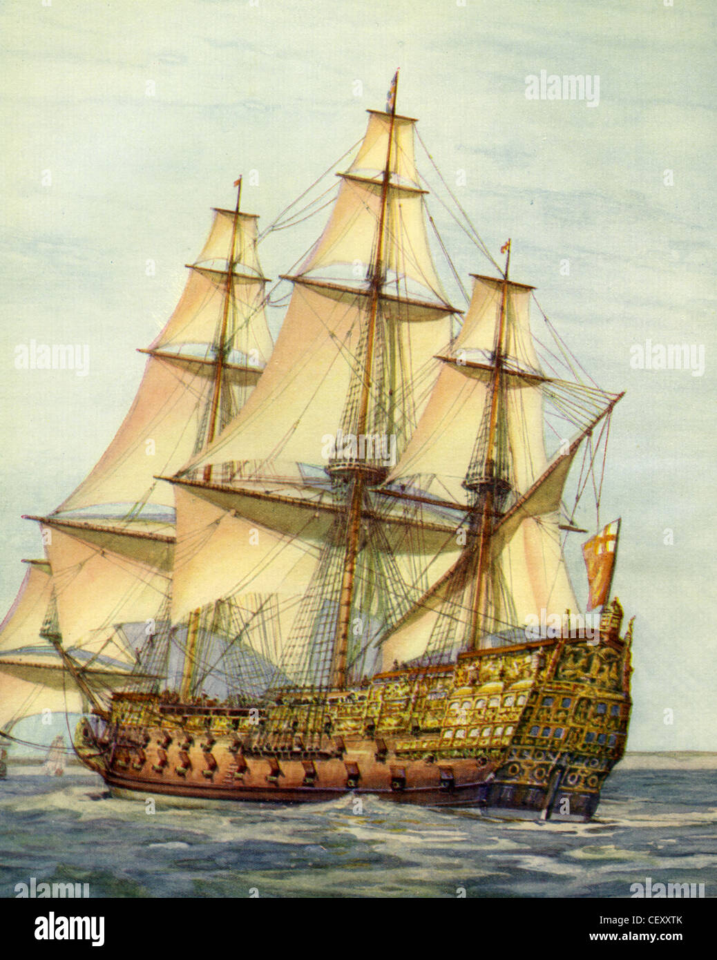 HMS ROYAL SOVEREIGN (1638-1697) gemalt von Marine-Historiker Gregory Robinson Stockbild
