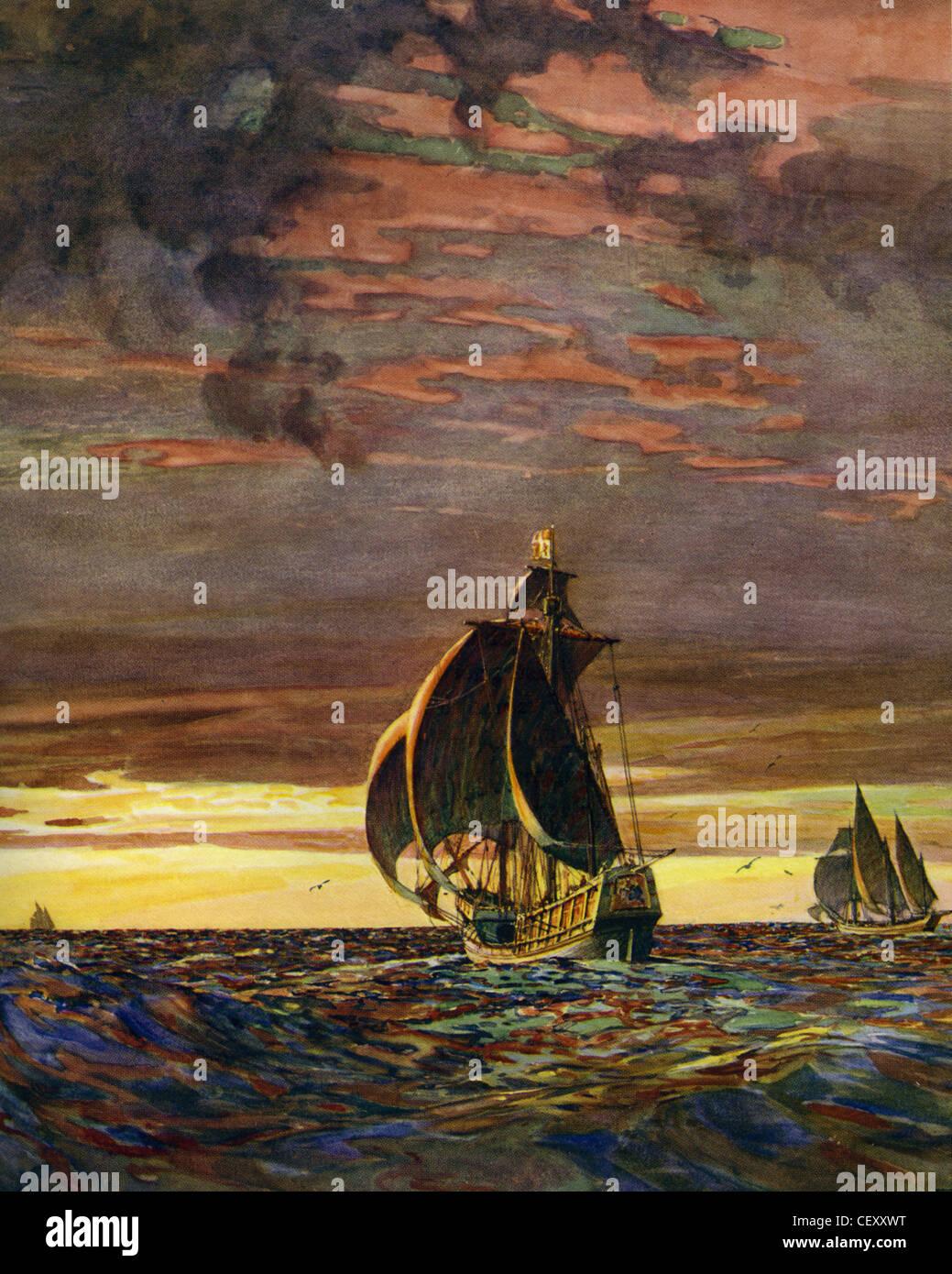 SANTA MARIA-Flaggschiff des Kolumbus mit Nina auf der rechten Seite und die Pinta am Horizont Stockbild