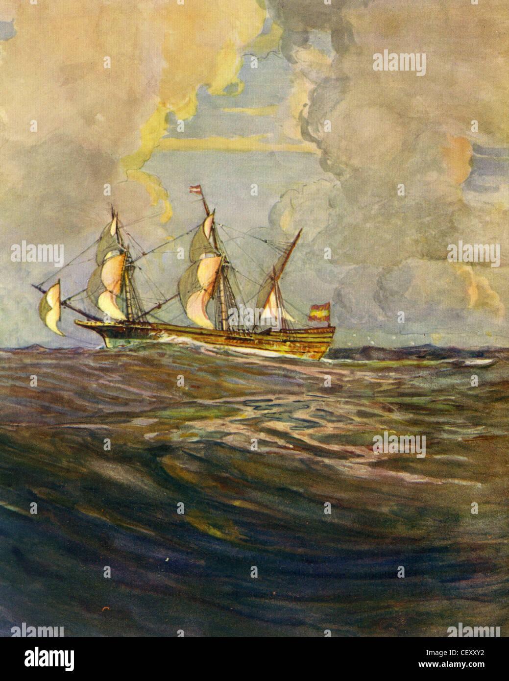 SPANISCHE Schatz Fregatte über 1590 gemalt von Marine-Historiker Gregory Robinson Stockbild
