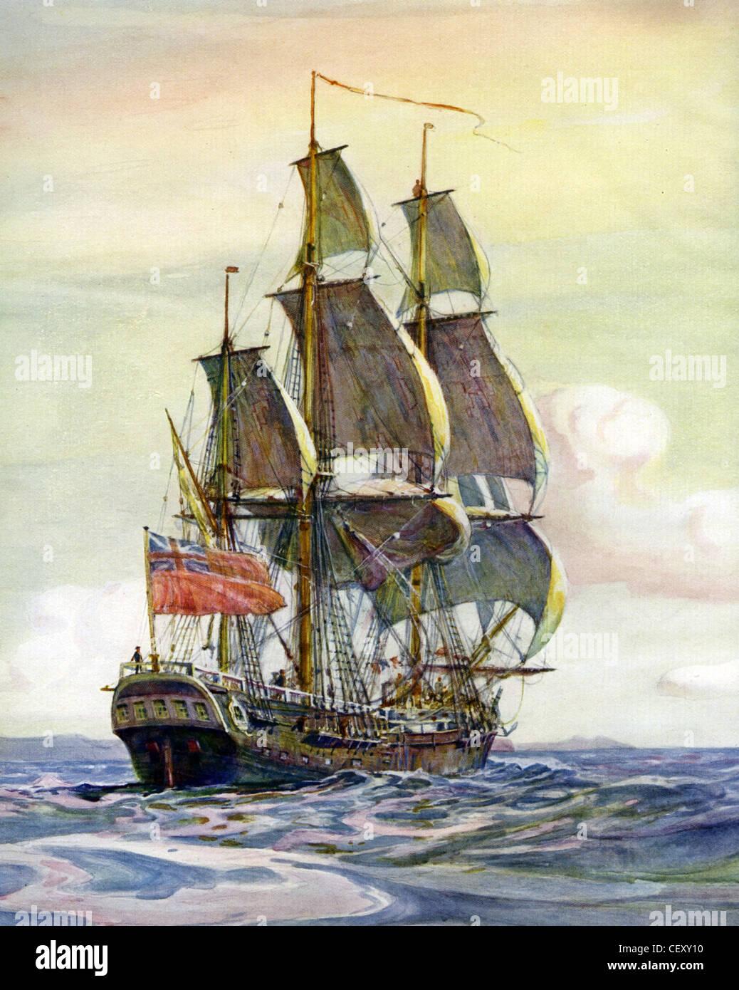 HMS ENDEAVOUR britische Marine Schiff unter dem Kommando von James Cook 1769-1771. Gemälde von Marine-Historiker Stockbild
