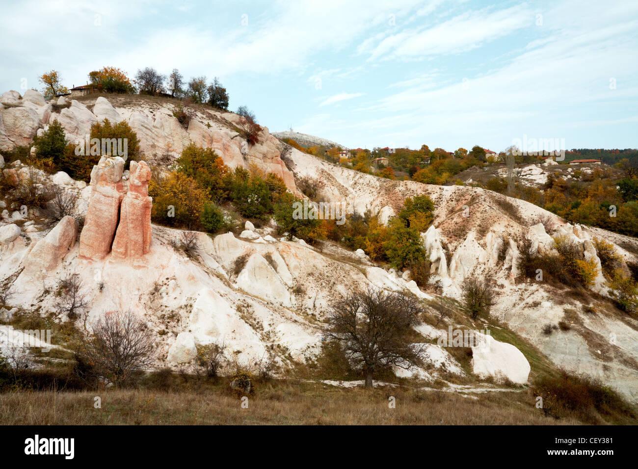 Steinerne Hochzeit Felsen Phänomen im Rodopi-Gebirge, Bulgarien Stockbild
