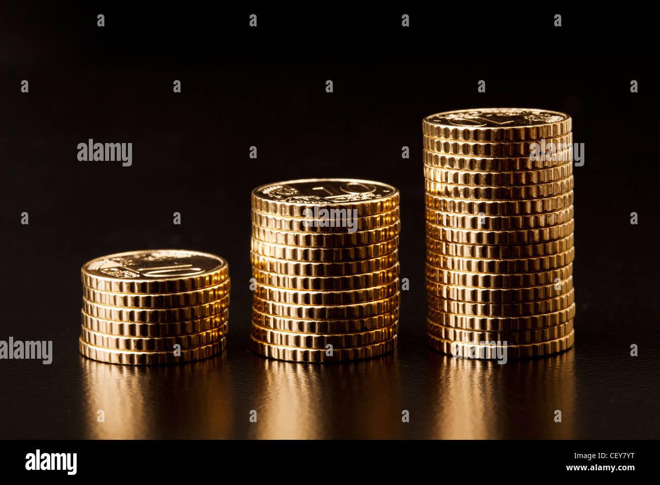 Gold-Münzen Stockbild