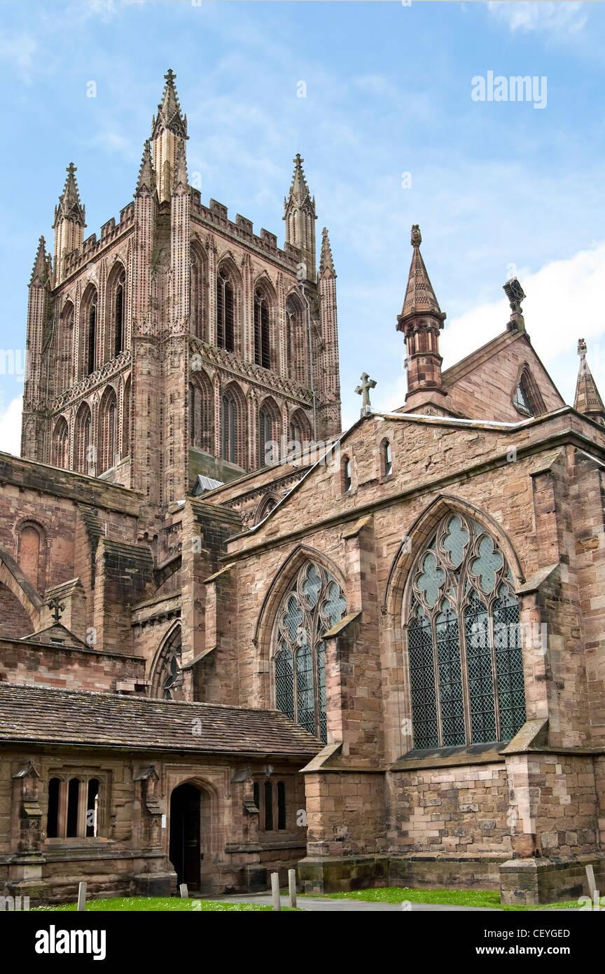 Hereford Kathedrale, befindet sich in Hereford in England, stammt aus dem Jahre 1079. Stockbild