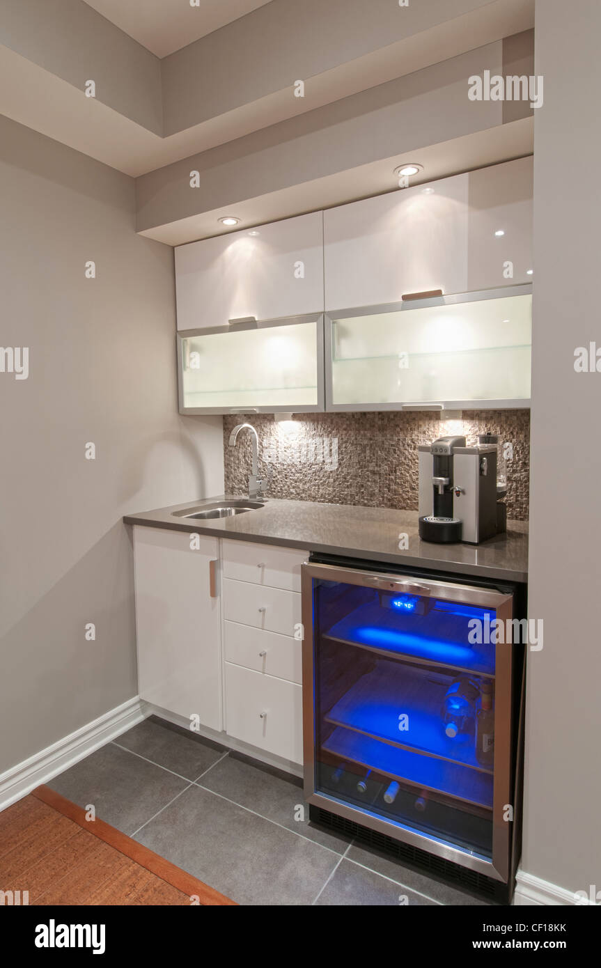 Minibar und Kühlschrank in Luxus-Wohn-Keller Stockfoto, Bild ...