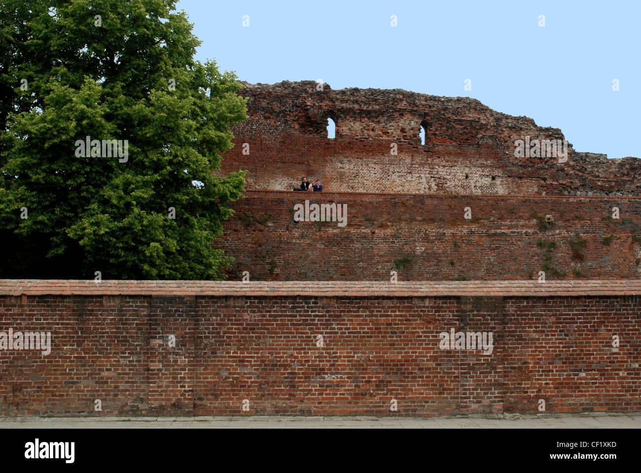 Ruine der Deutschordensburg Torun zerstört im 15. Jahrhundert. Stockbild