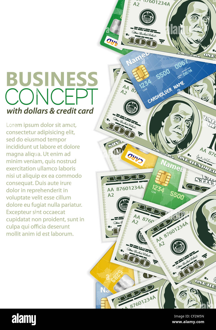 Business Frame Dollar Bills Template Stockfotos & Business Frame ...