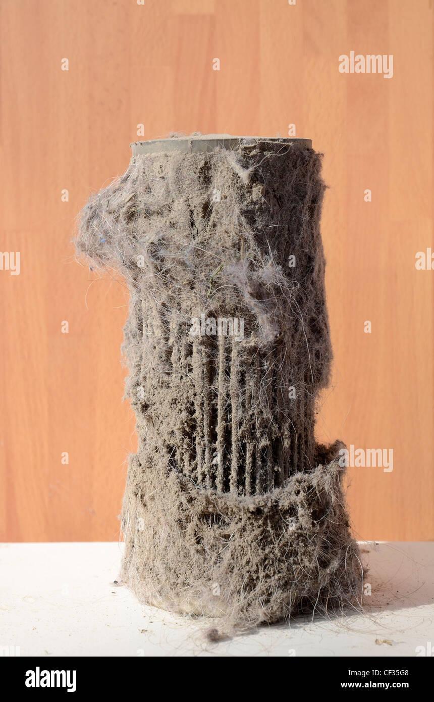 Ein verschmutzter Filter aus Staubsauger Stockbild