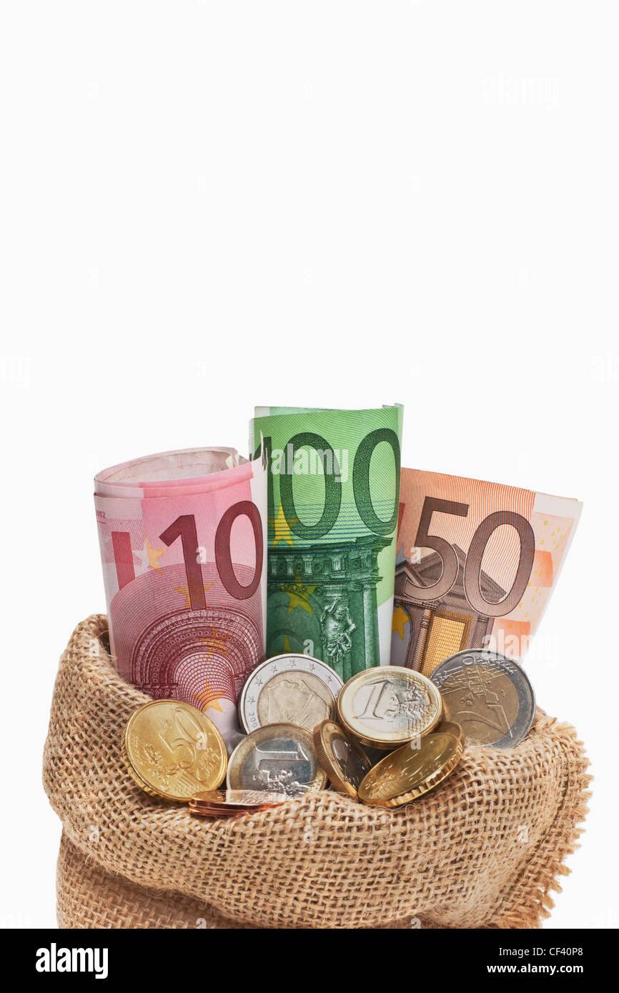 Viele Euro Banknoten Und Münzen Befinden Sich In Einem Jutesack