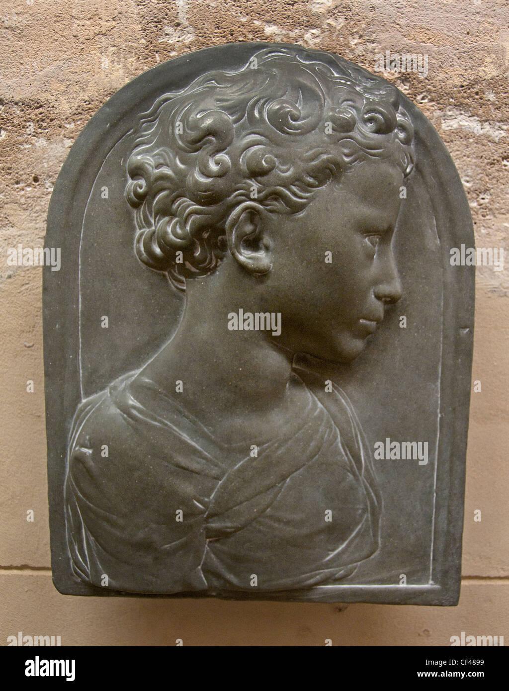 Profil von einem Kind 1500 Florenz Italien Italienisch Stockbild