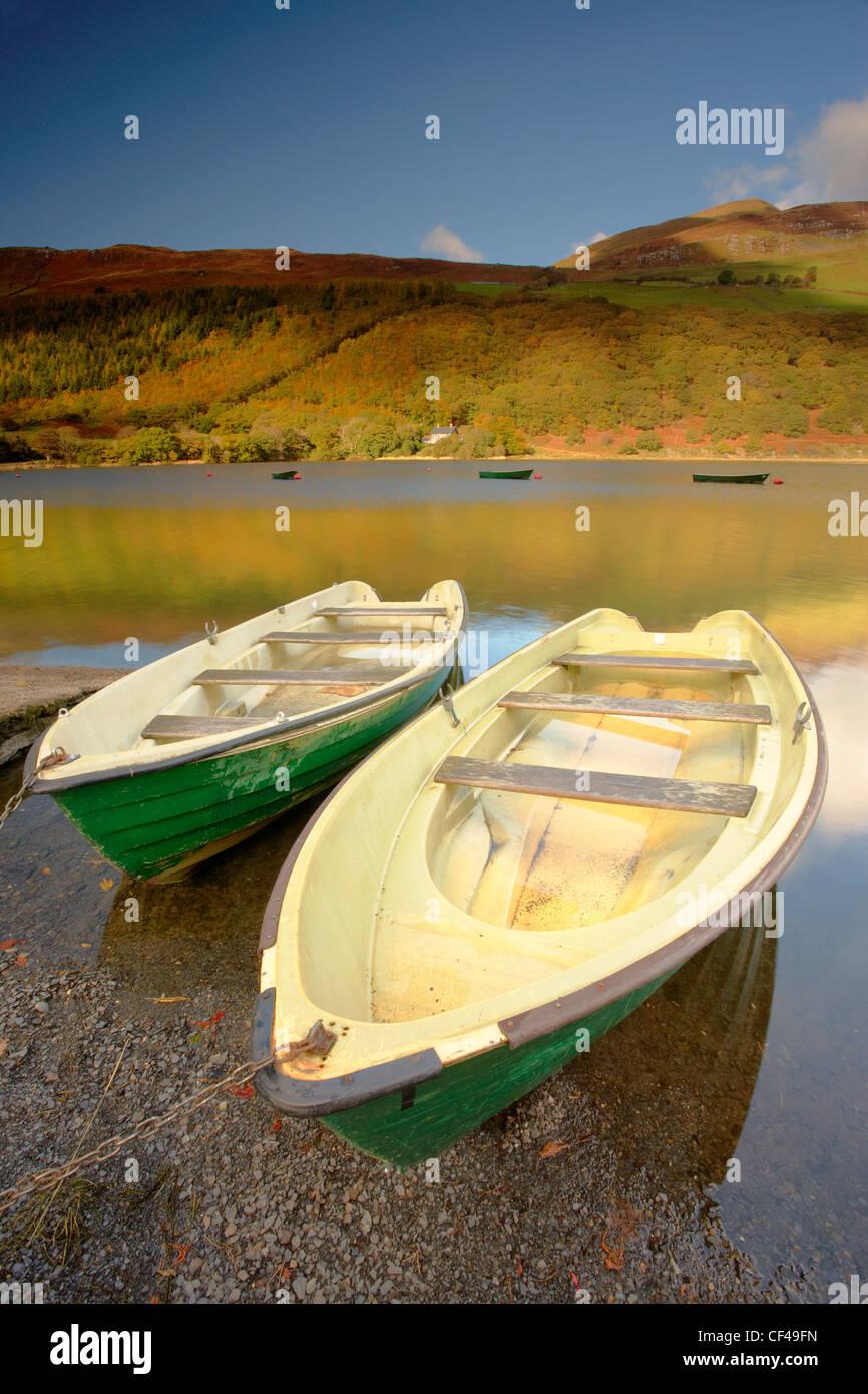Angelboote/Fischerboote auf Tal Y Llyn See in Snowdonia. Stockbild