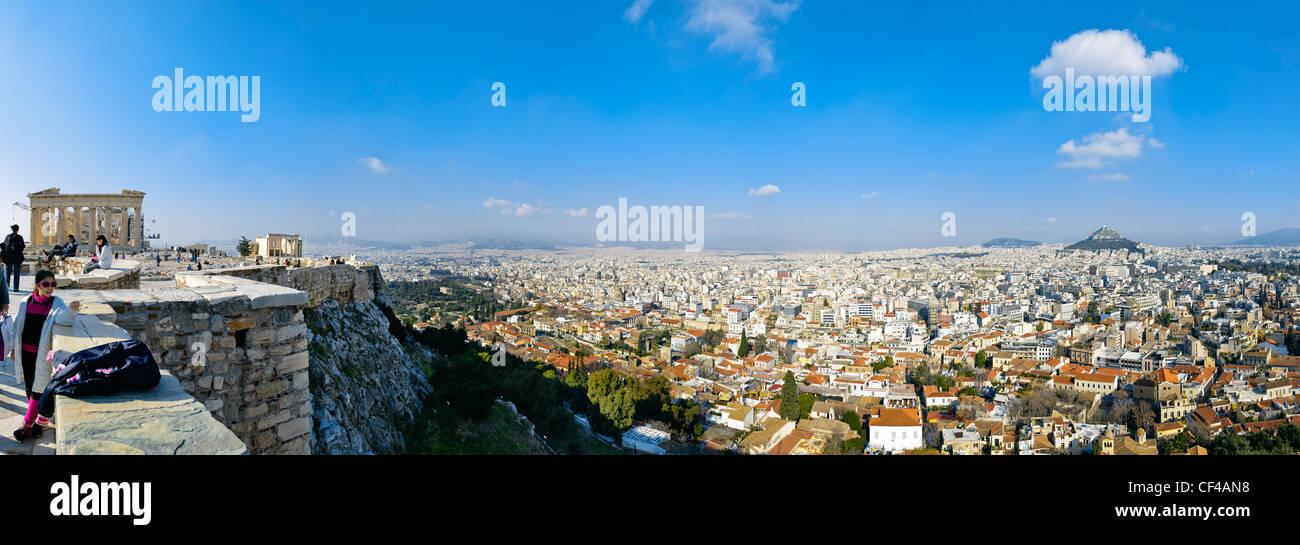 Ansicht von Athen aus der Akropolis, Griechenland, Europa Stockbild