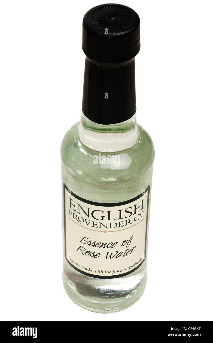 Flasche Englisch Futter Co Essenz Rosenwasser Stockbild