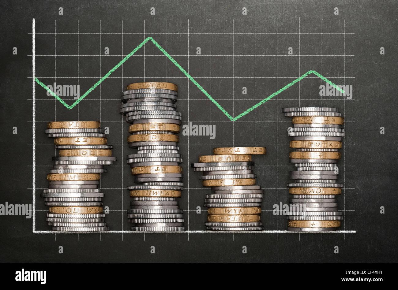 Stapel von Münzen auf einer Tafel Hintergrund bildet ein Diagramm Stockbild