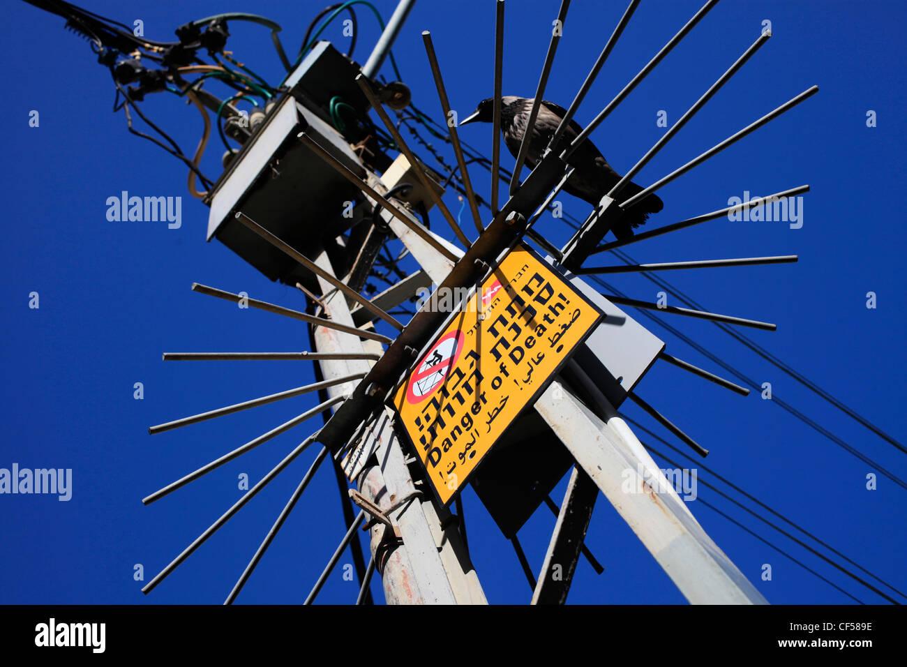 Hochspannung elektrische Energie Übertragung Pylon in Israel Stockbild