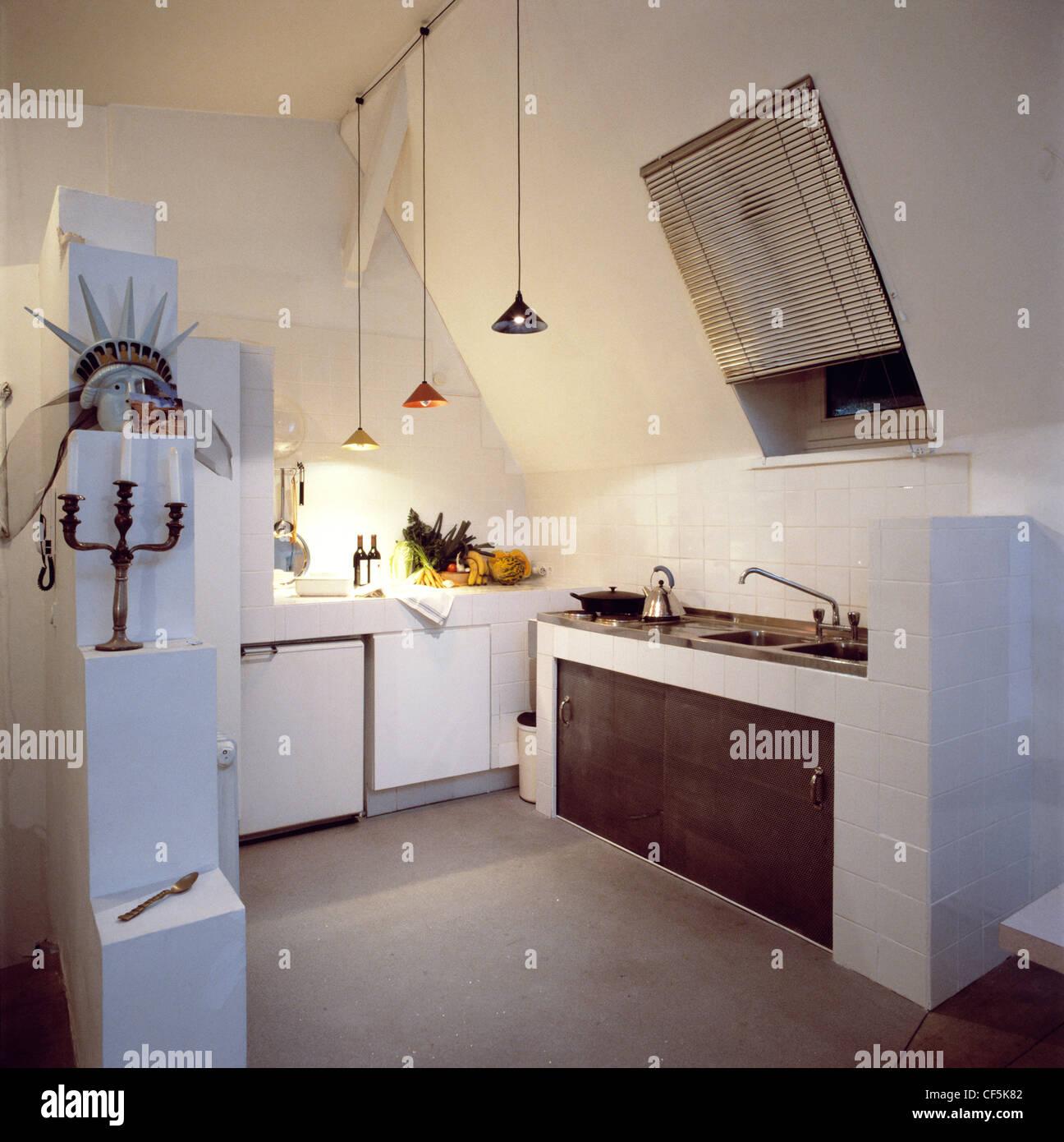 Echte Homeskitchen Bereich In Einem Offenen Studio Flache