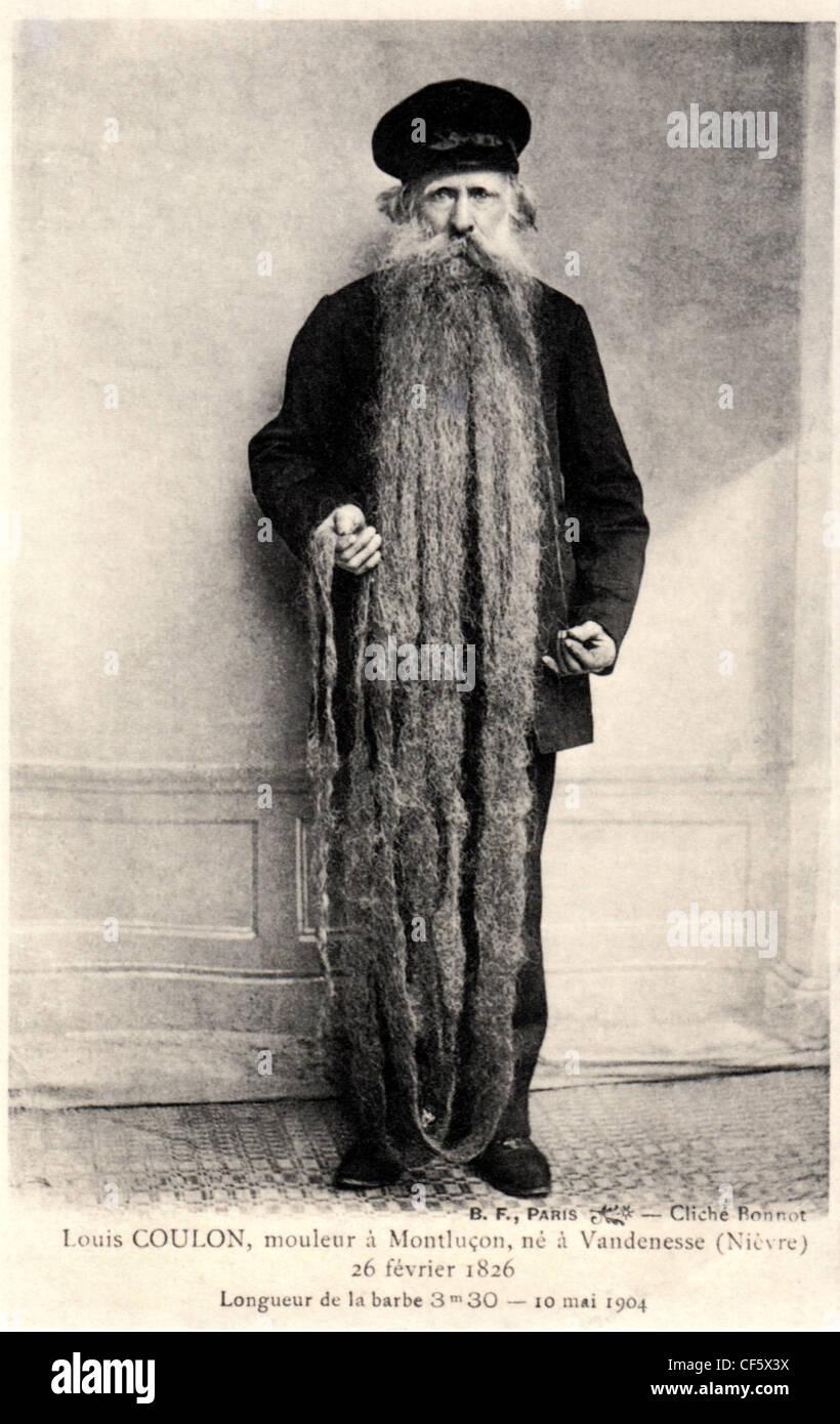 Archiv Foto von Louis Coulon und 11 Fuß langen Bart, ca. 1904, Paris, Frankreich. Stockbild
