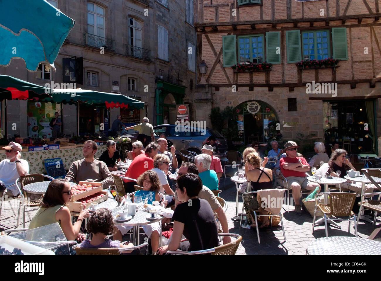 Frankreich Lot-Cele Figeac, Café Leben Foto von Glyn Genin Stockbild
