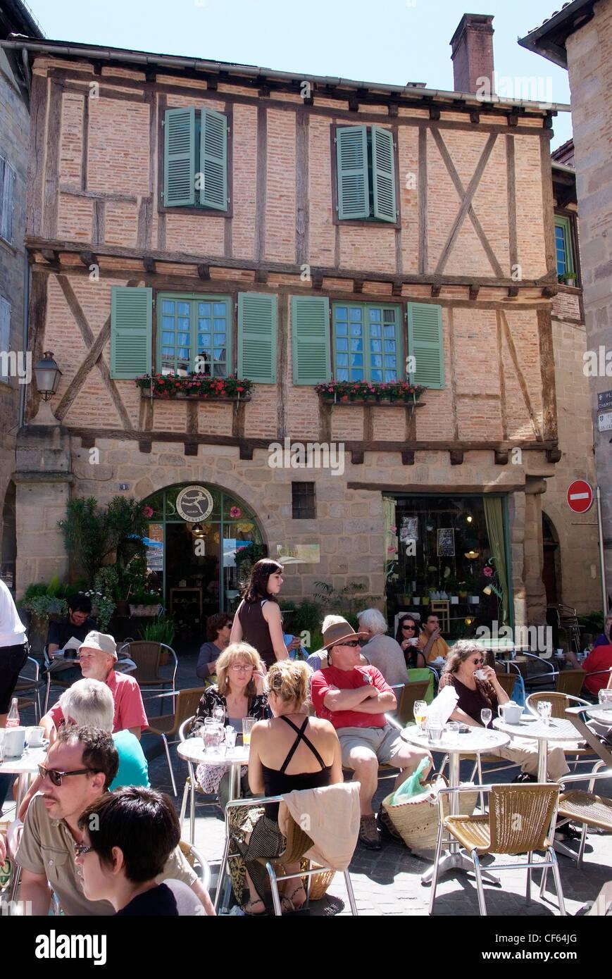 Frankreich Lot-Cele Figeac, Café Leben Stockbild