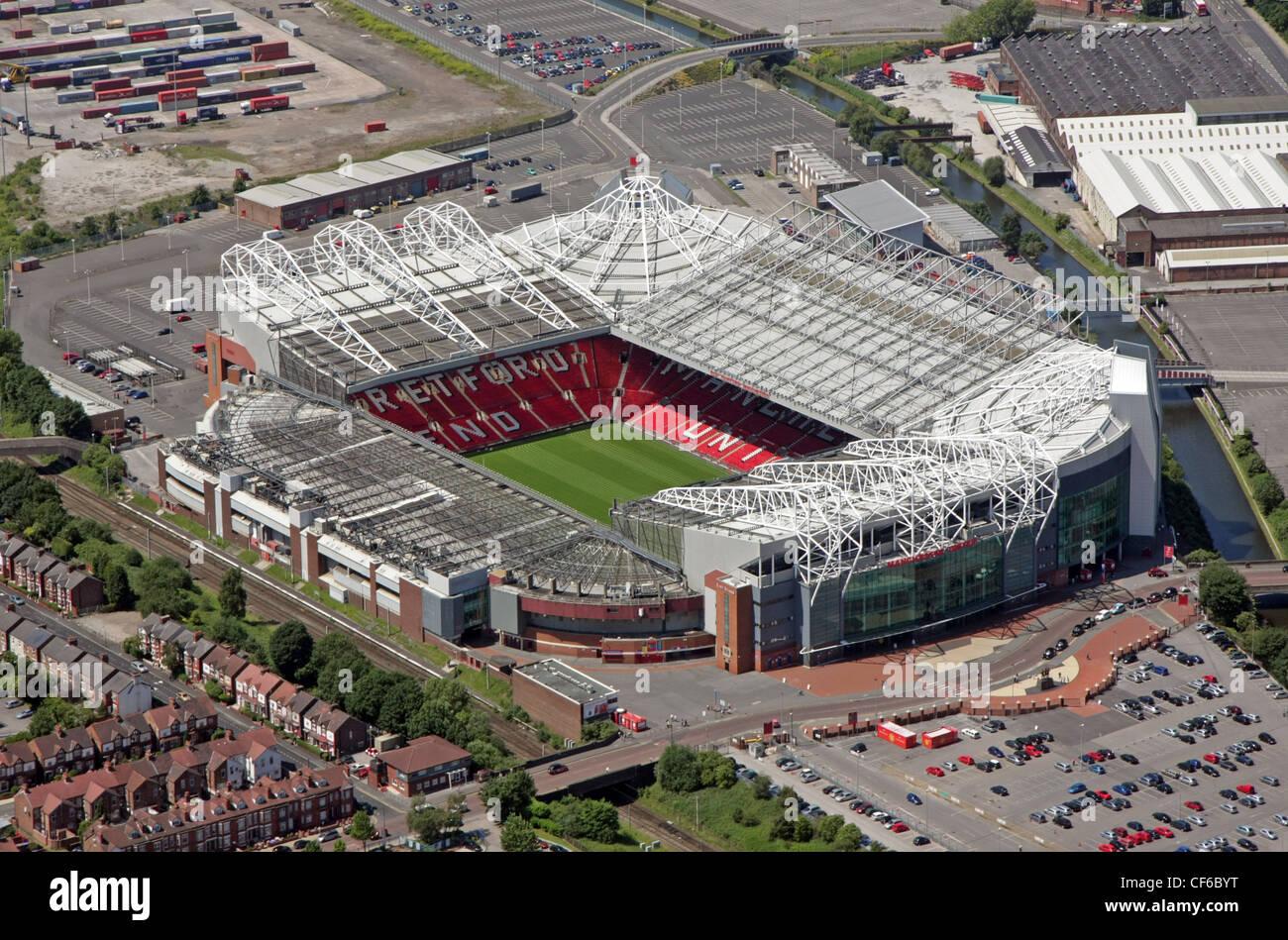 Luftaufnahme des Old Trafford-Stadion von Manchester United FC Stockbild