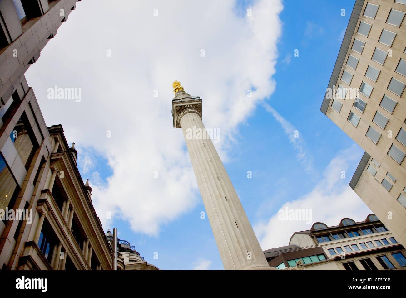 Ein Blick auf das Denkmal für den großen Brand von London in der City of London. Stockbild