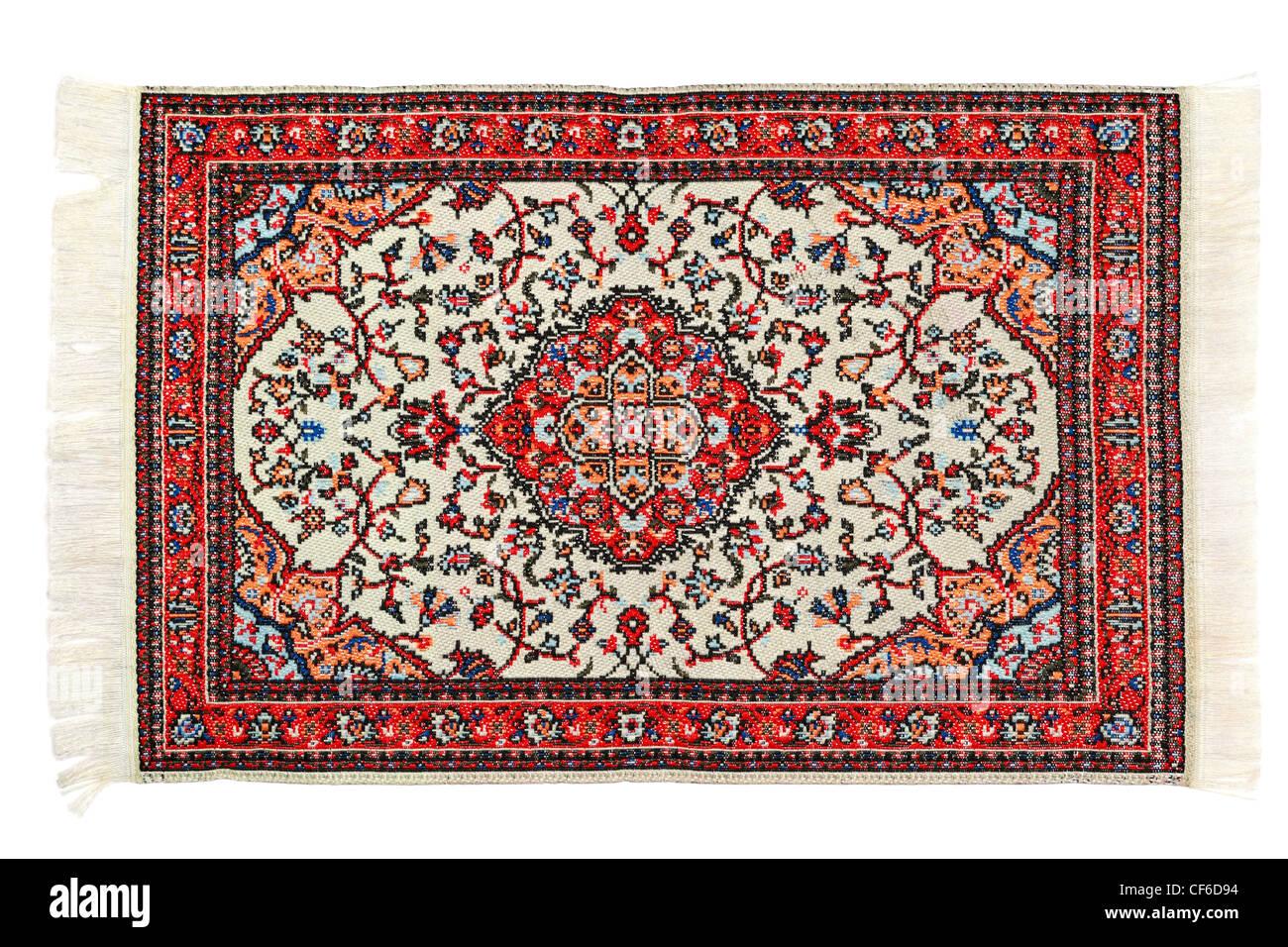 Rechteckige hellen Teppich liegt horizontal auf weißem Hintergrund Stockbild