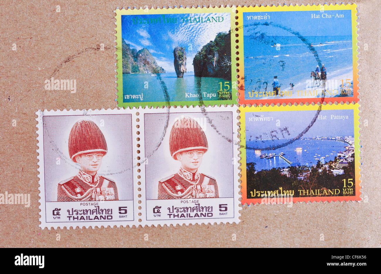 Thailand Briefmarken Auf Brief Stockfoto Bild 43787330 Alamy