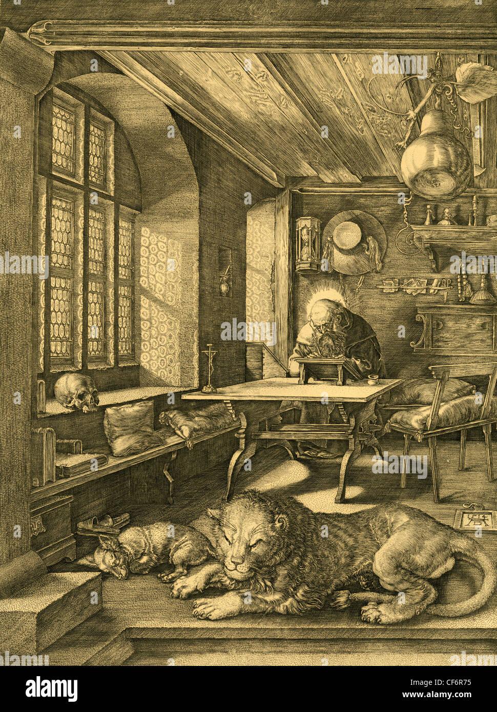 """""""Hieronymus in seiner Studie"""" 19. Jahrhundert Gravur nach Albrecht Dürer. Stockbild"""