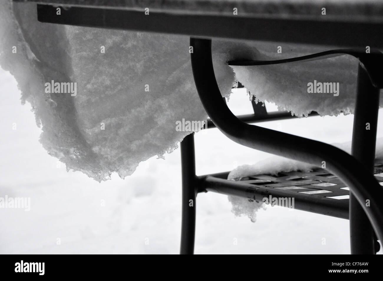 Schnee-Tischdecke Einfrieren Effekte Stockbild