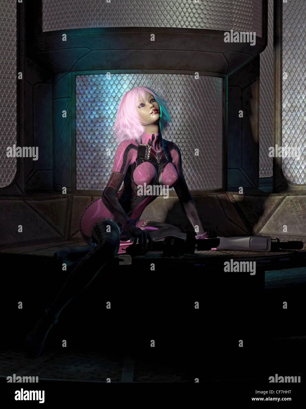 Science Fiction Catsuit Mädchen in einem dunklen Raum Stockbild