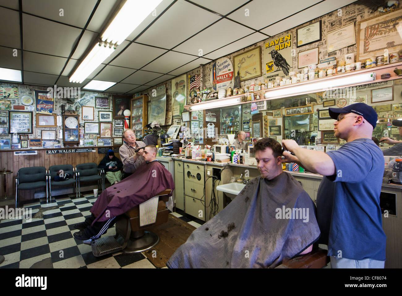 Friseur in Shenandoah, Pennsylvania Stockbild