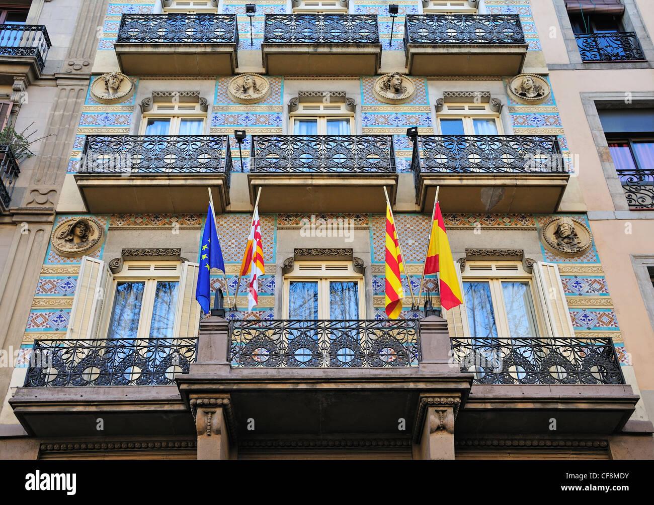 Barcelona, Spanien. La Rambla. Hotel Ramblas - Fassade Stockbild