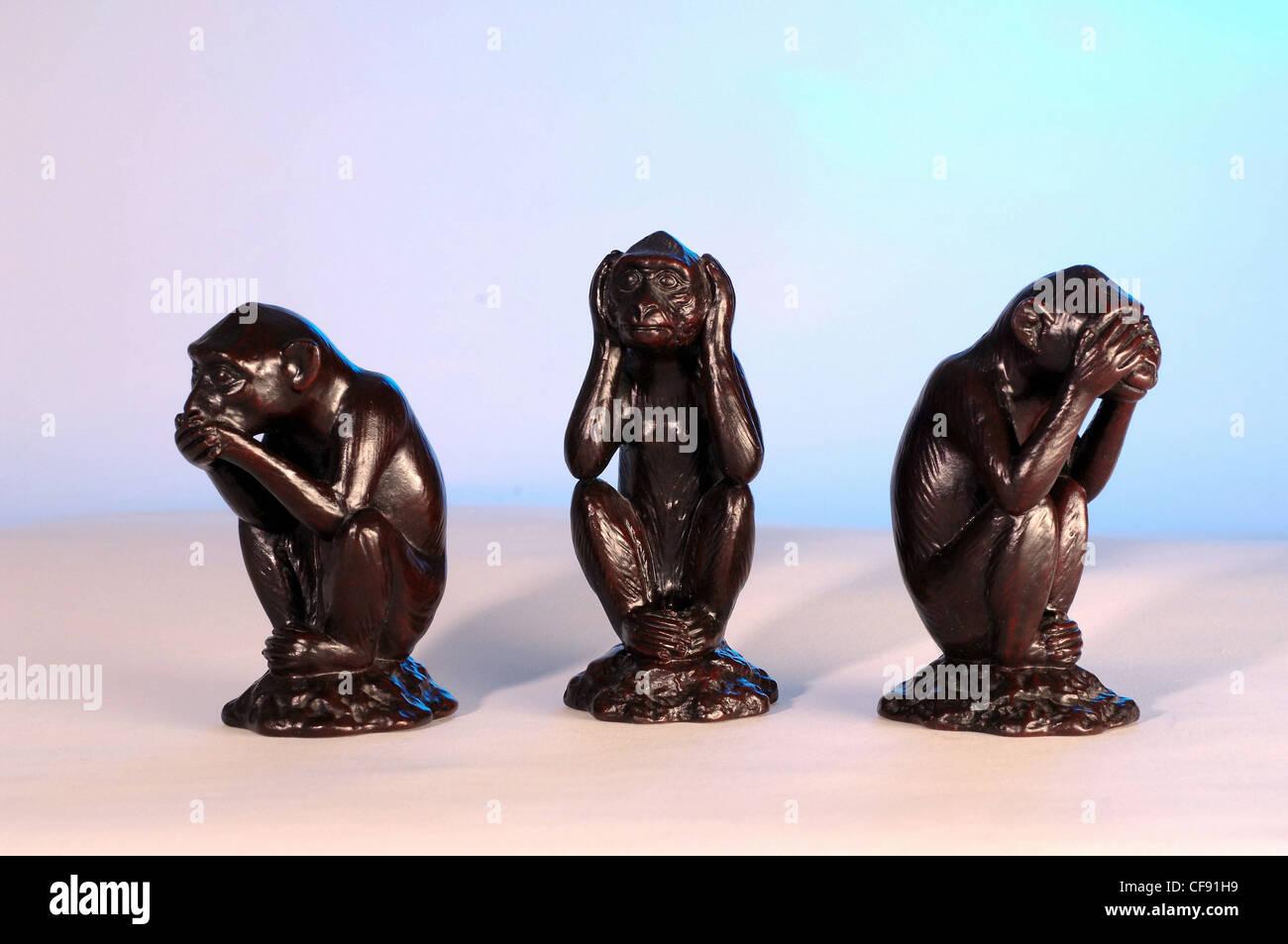 Drei Affen Symbol Zahlen Zahlen Nichts Hören Nichts