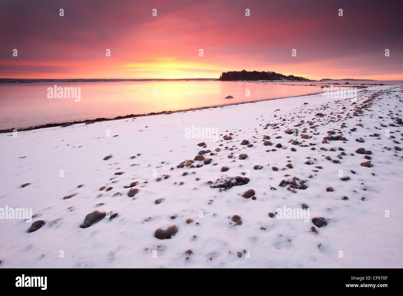 Schönen Wintermorgen am Oslofjord, Larkollen in Rygge, Østfold fylke, Norwegen. Stockbild