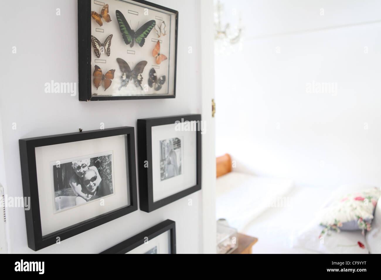 Sydney-Wohnung-Schlafzimmer Interidetail gerahmten Schmetterlinge ...