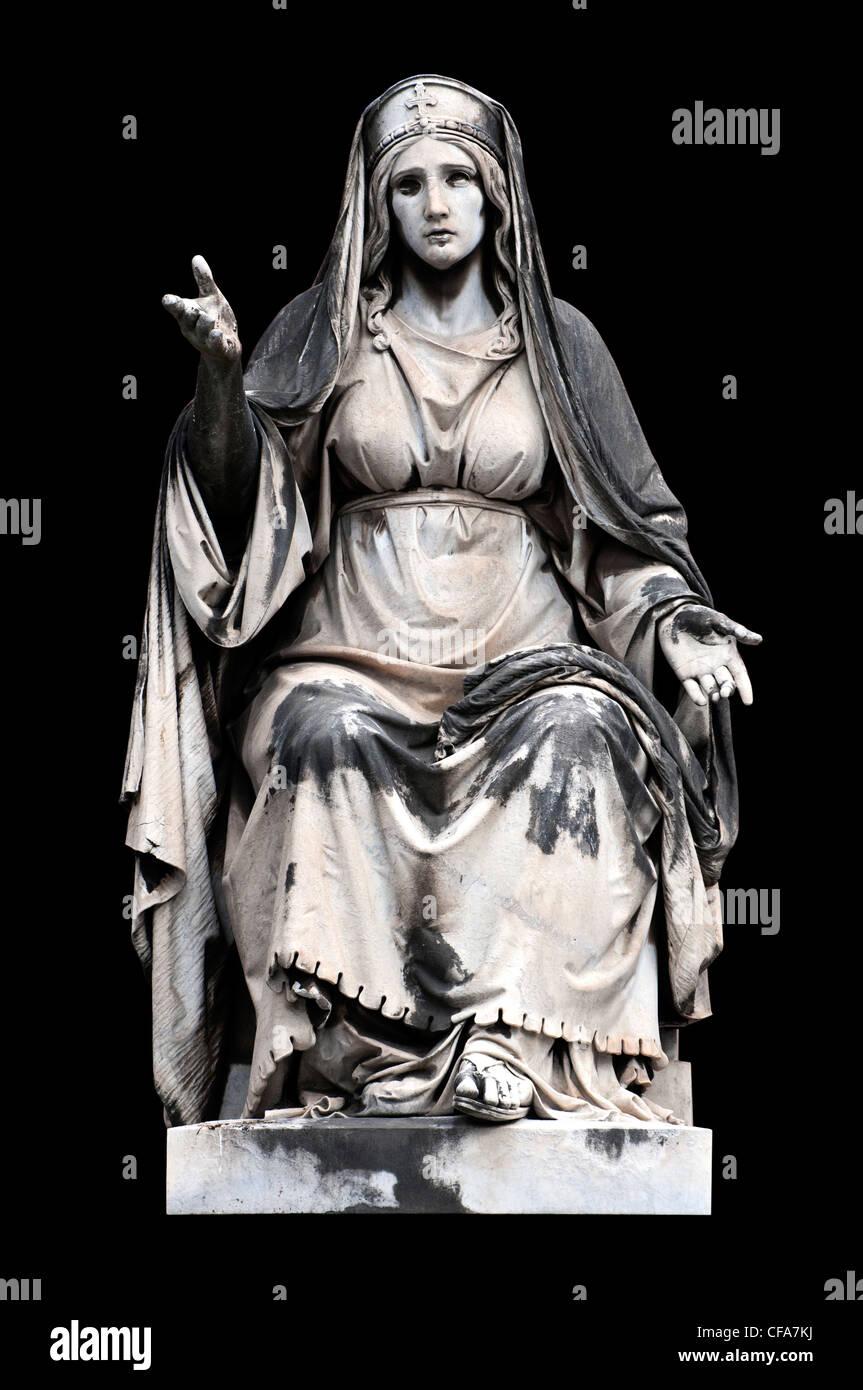 Allegorische Skulptur (Nächstenliebe) von Francesco Fabi-Altini, Campo Verano, Rom Italien Stockbild