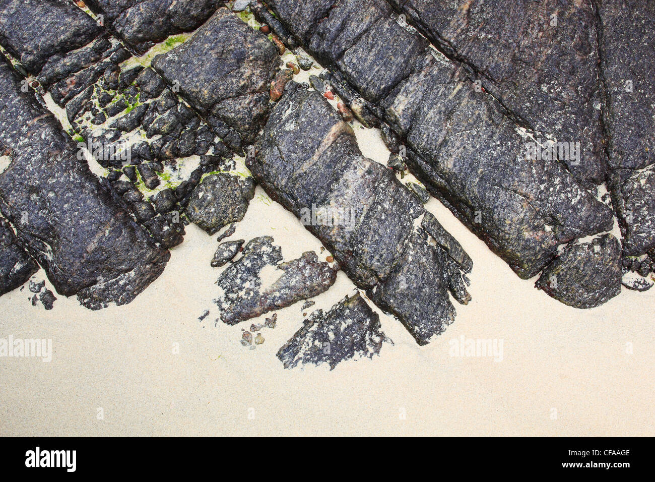 Detail, bildende Künste, Küste, Natur, Sand, Schottland, Zeichnung Stockbild