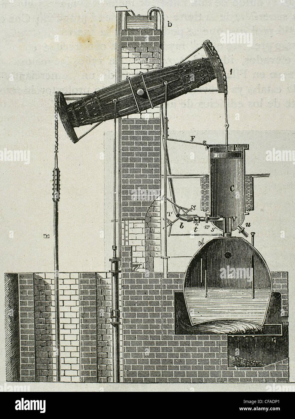 Newcomen-Dampfmaschine 1712 von Thomas Newcomen erfunden. Stockbild