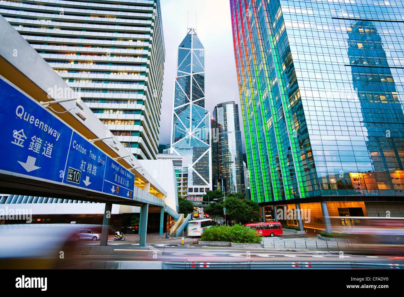 Hong Kong Skyline bei Dämmerung, zentralen Geschäfts- und Bankenviertel, Bank of China Gebäude, Hong Stockbild