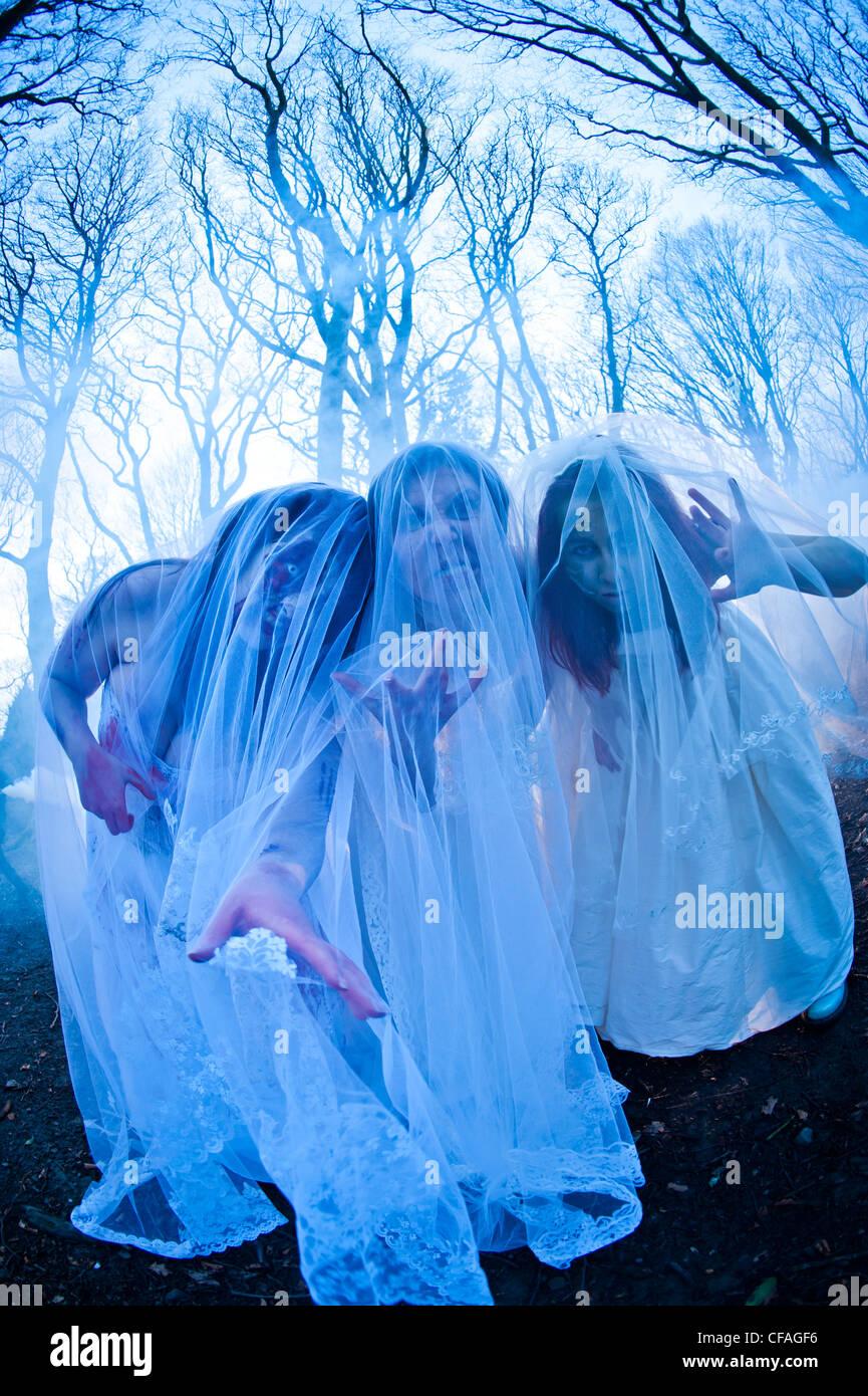 Drei junge Frauen gekleidet als Bräute, die Teilnahme an einem ...