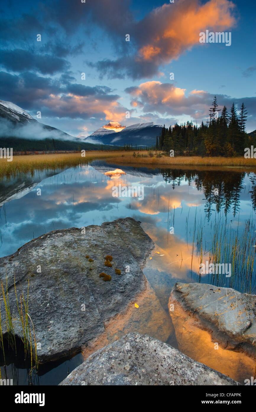 Malerisch mit Wasserreflexionen von Rampart Teichen und Mount Athabasca, Banff Nationalpark, Alberta, Kanada Stockbild