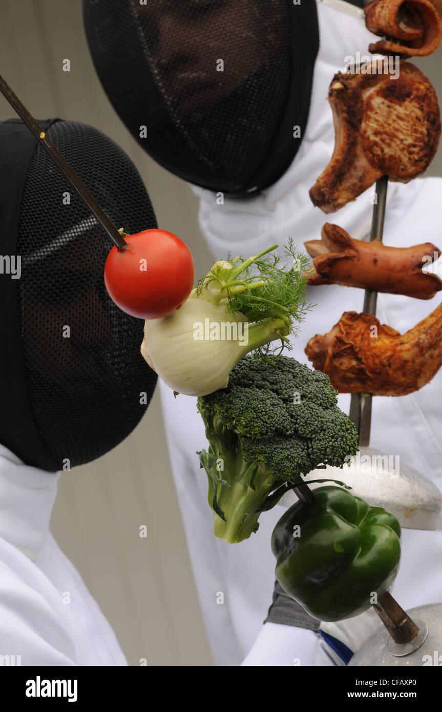 Symbol, Konzepte, Fechten, Cholesterin, Fett, Fleisch, Wurst, Gemüse, gesund, Fettsäuren, Lebensmittel, Stockbild