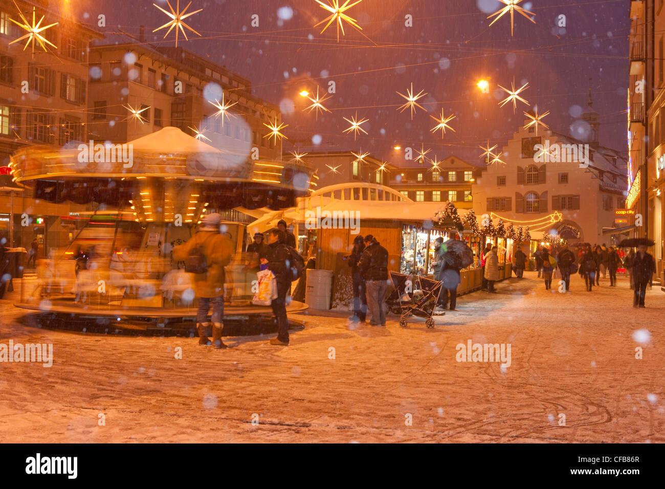 Stadt, Stadt, Weihnachten, Advent, Winter, Schnee, Kanton St. Gallen ...