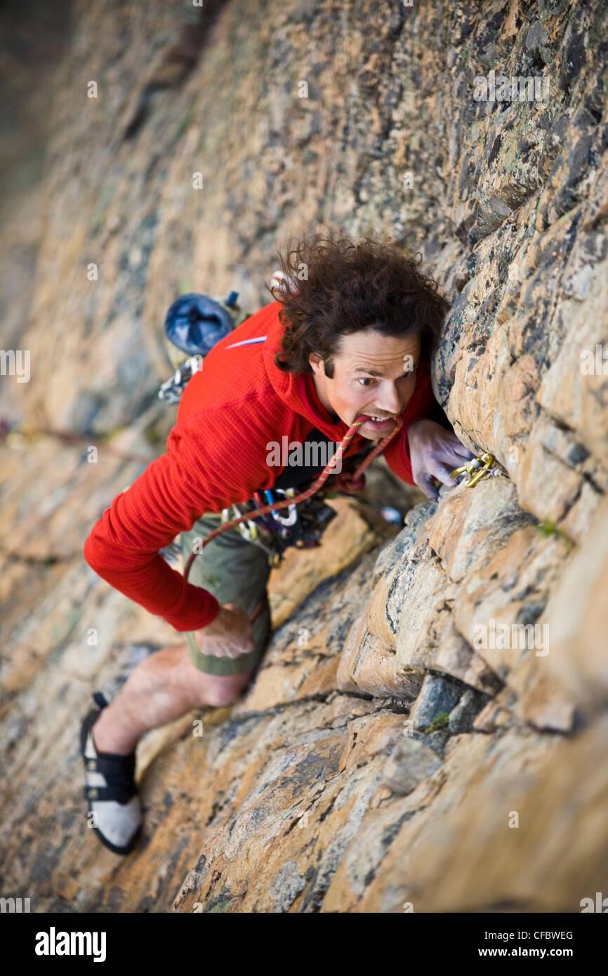Ein Mann Klettern, Arschlöcher August 5.9, Skaha Bluffs, Skaha, Penticton Bereich, British Columbia, Kanada Stockbild