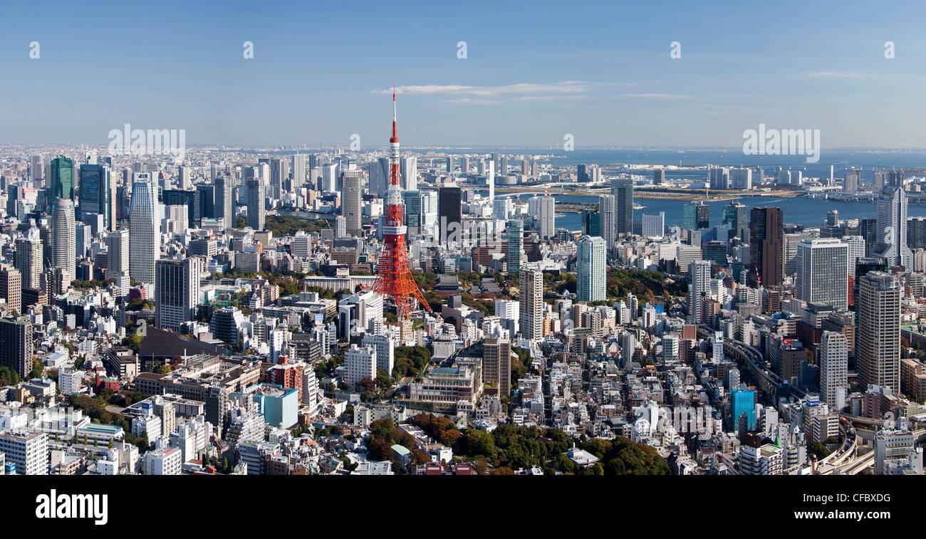 Tokyo, Japan, Asien, Stadt, Tokio, Architektur, große, Gebäude, damit beschäftigt, riesige, Metropole, Stockbild