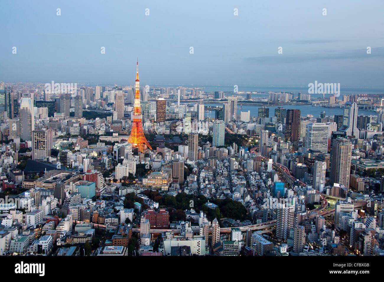 Tokyo, Japan, Asien, Stadt, Skyline von Tokyo, Tokyo Tower, Architektur, große, Gebäude, Stadt, Innenstadt, Stockbild