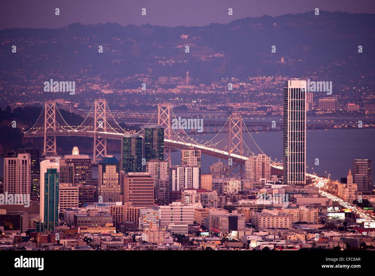 USA, USA, Amerika, Kalifornien, San Francisco, Stadt, Innenstadt, Bay Bridge, Architektur, Bay, downtown, berühmt, Stockbild