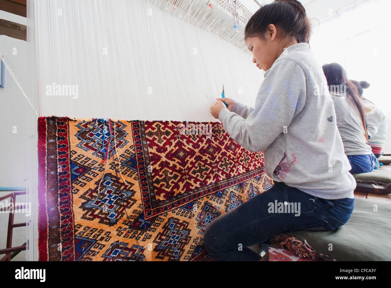 Laos Vientiane Magische Lao Teppich Kunsthandwerk Madchen Teppich
