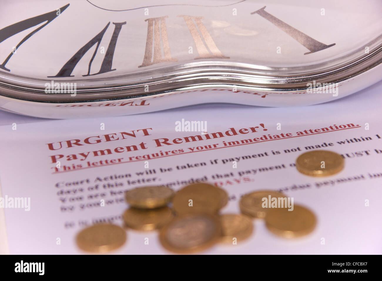 Finanzkonzept Schulden Zahlung Mahnung Schlechten Leeren