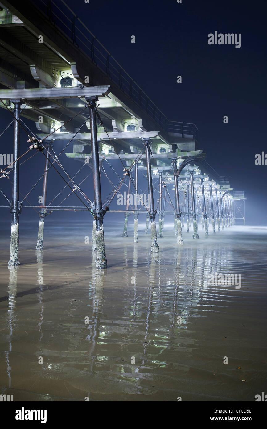 Saltburn Pier Beleuchtung, Cleveland Stockbild